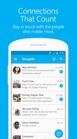 """Group Me Screen shot: """"Connections that count"""" Stay in touch with the people who matter most."""