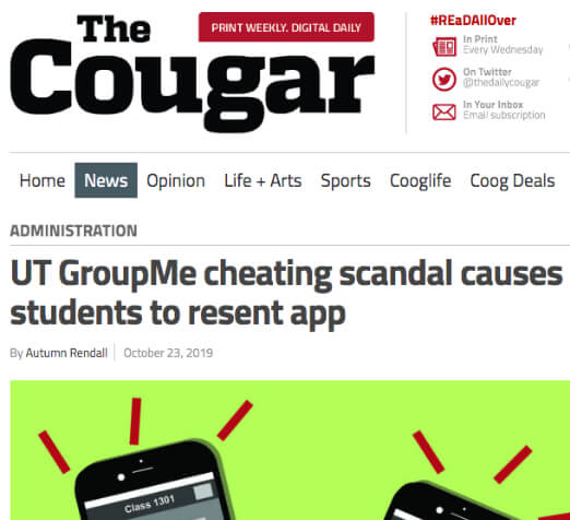 The Cougar headline: UT GroupMe cheating Scandal causes students to resent app