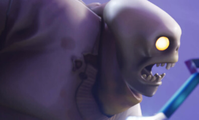 Screen shot of a fortnite character showing teeth and yellow eyes