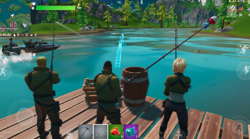 Screen shot of three Fortnite characters fishing