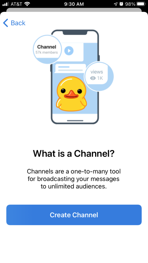 """Screenshot of telegram """"What is a Channel?"""" Channels are a one-to-many tool for broadcasting your messages to unlimited audiences."""