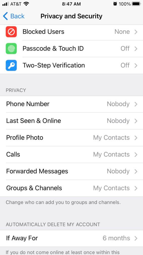 Screen shot of Privacy and Security for Telegram app