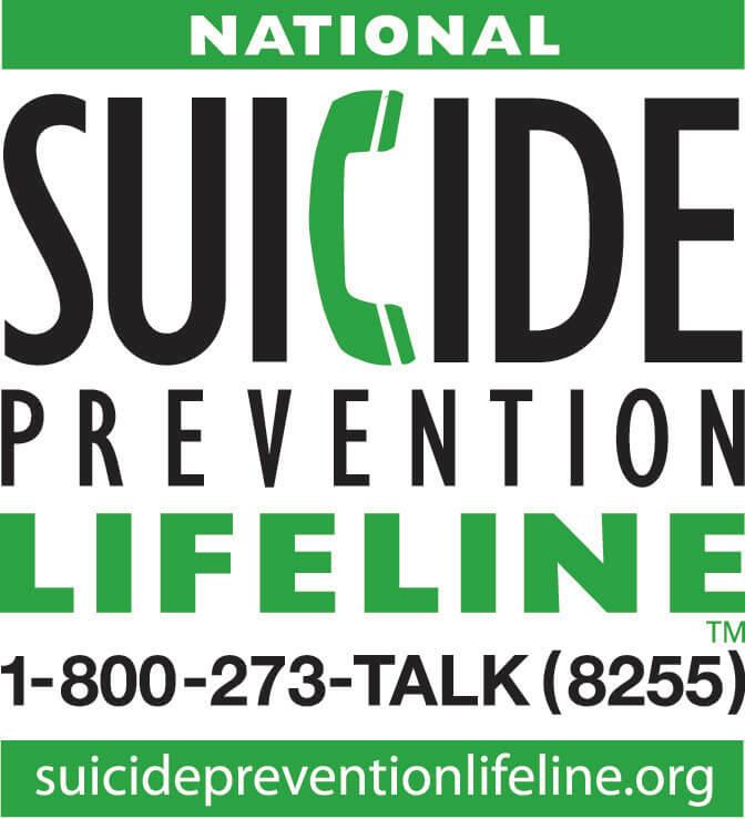 National Suicide Prevention Lifeline 1-800-273-TALKS (8255)