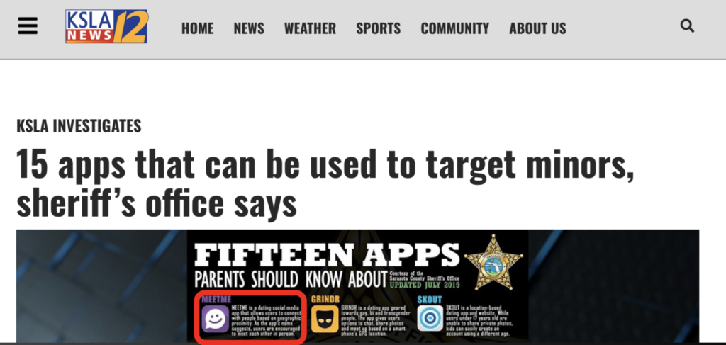 KSLA News 12 headline: 15 apps that can be used to target minors, sheriff's office says