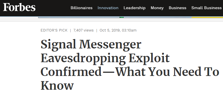 Forbes: Signal Messenger eavesdropping exploit confirmed-what you need to know