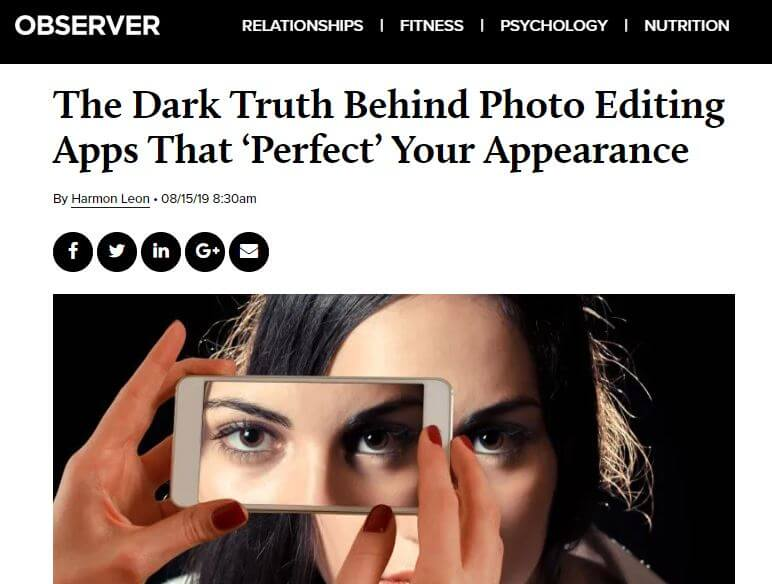 Observer headline: The dark truth behind photo editing apps that 'perfect' your appearance