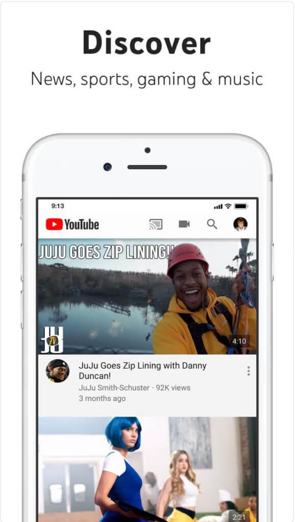 "YouTube App Screen shot ""Discover News, sports gaminig & music"""