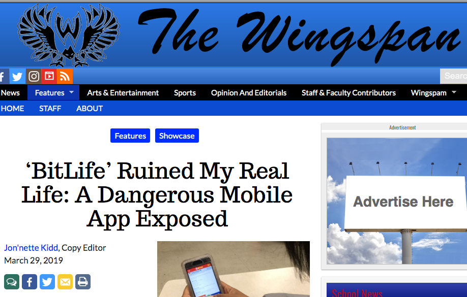 The Wingspan headline: 'BitLife' Ruined my real life: A dangerous mobile app exposed