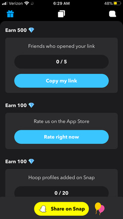 Hopp Screen shot showing Earn diamond options (Copy my link and Rate right now)