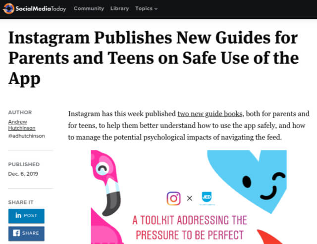 Social Media Today headline: Instagram Publishes New Guidelines for PArents and Teens on Safe Use of the app