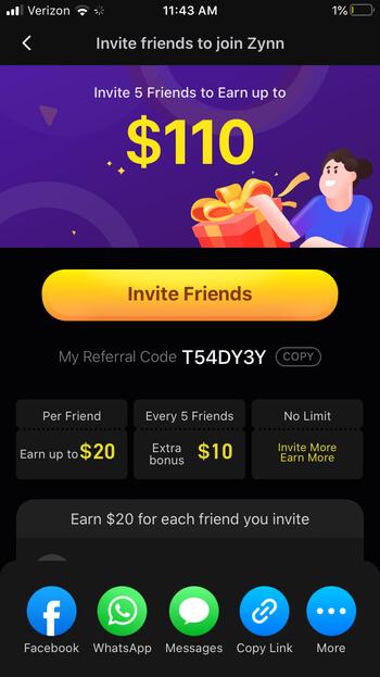 Zynn App Rewards snapshot