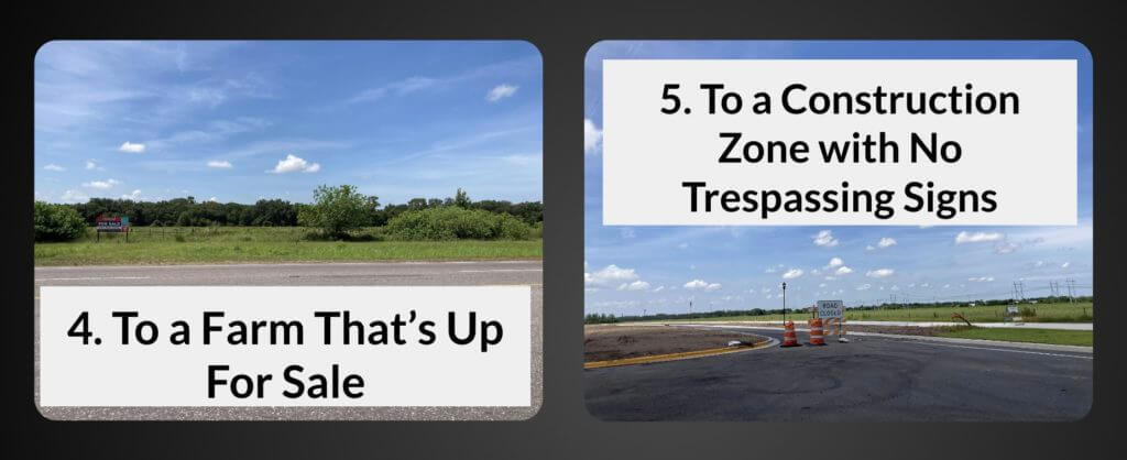 Randonautica app location examples to a farm that is for sale and a construction zone with no trespassing signs