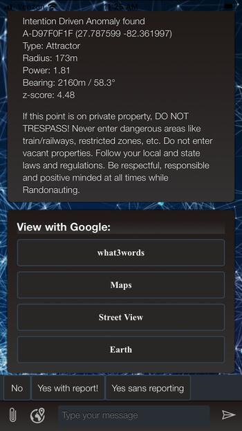 Randonautica app location found