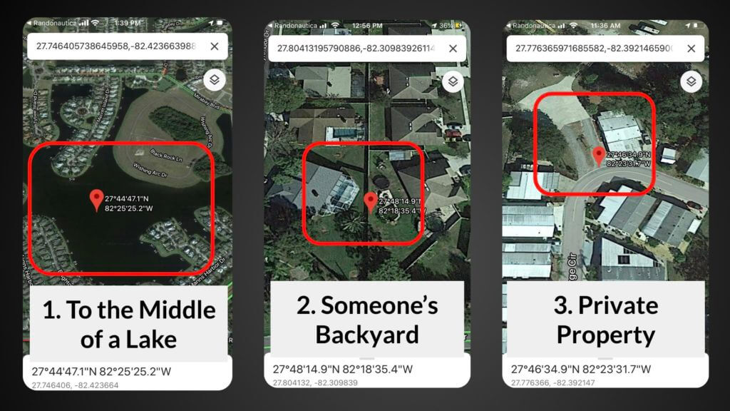 Randonautica app location examples: to the middle of a lake, someone's backyard and private property