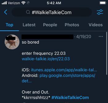 Screen shot of a #WalkieTalkie Com discussion
