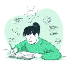 Cartoon image of a girl thinking and writing in a journal