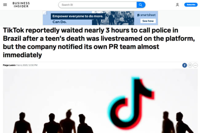 """""""Tiktok reprotely waited nearly 3 hours to call police in Brazil after a teen's death was levestreamed on the platform, but the company notified its own PR team almost immediately"""" headline from Business Insider"""