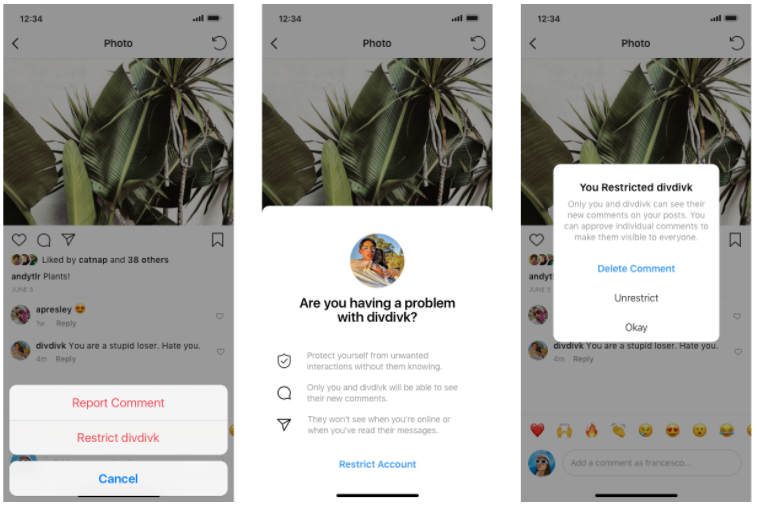 Sample images of Report Comment and Restrict user screen shots (Instagram blog)