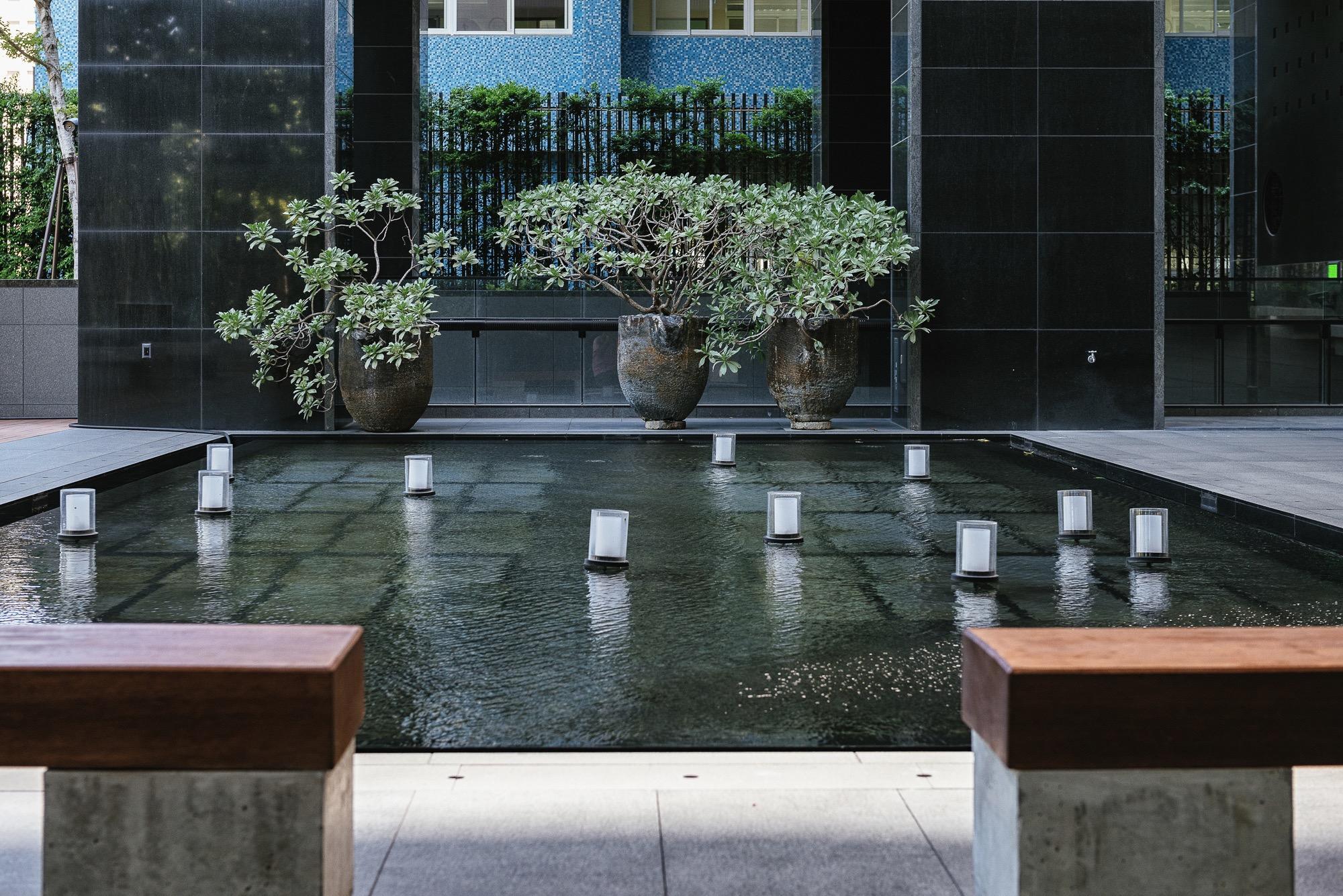 竹北原見築中庭水池