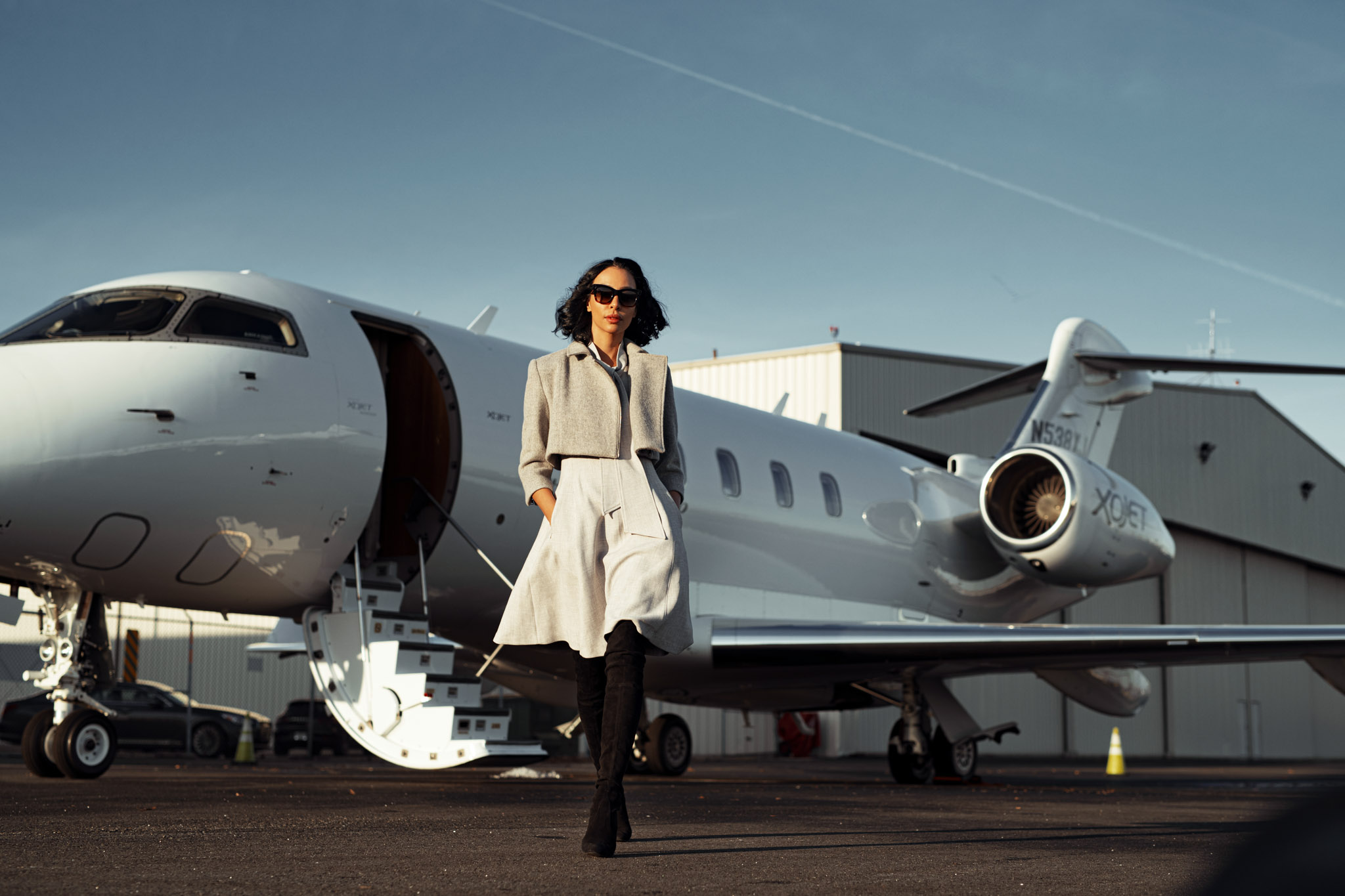 commercial photoshoot of successful woman arrived on private jet to teterboro airport