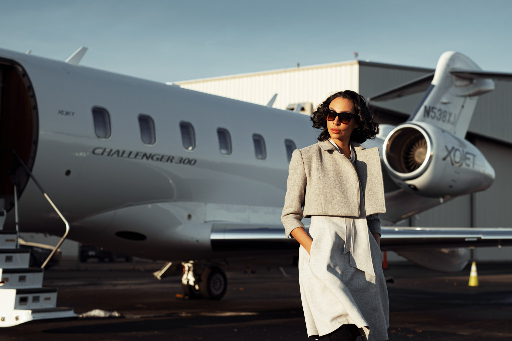 photoshoot of the model with private jets