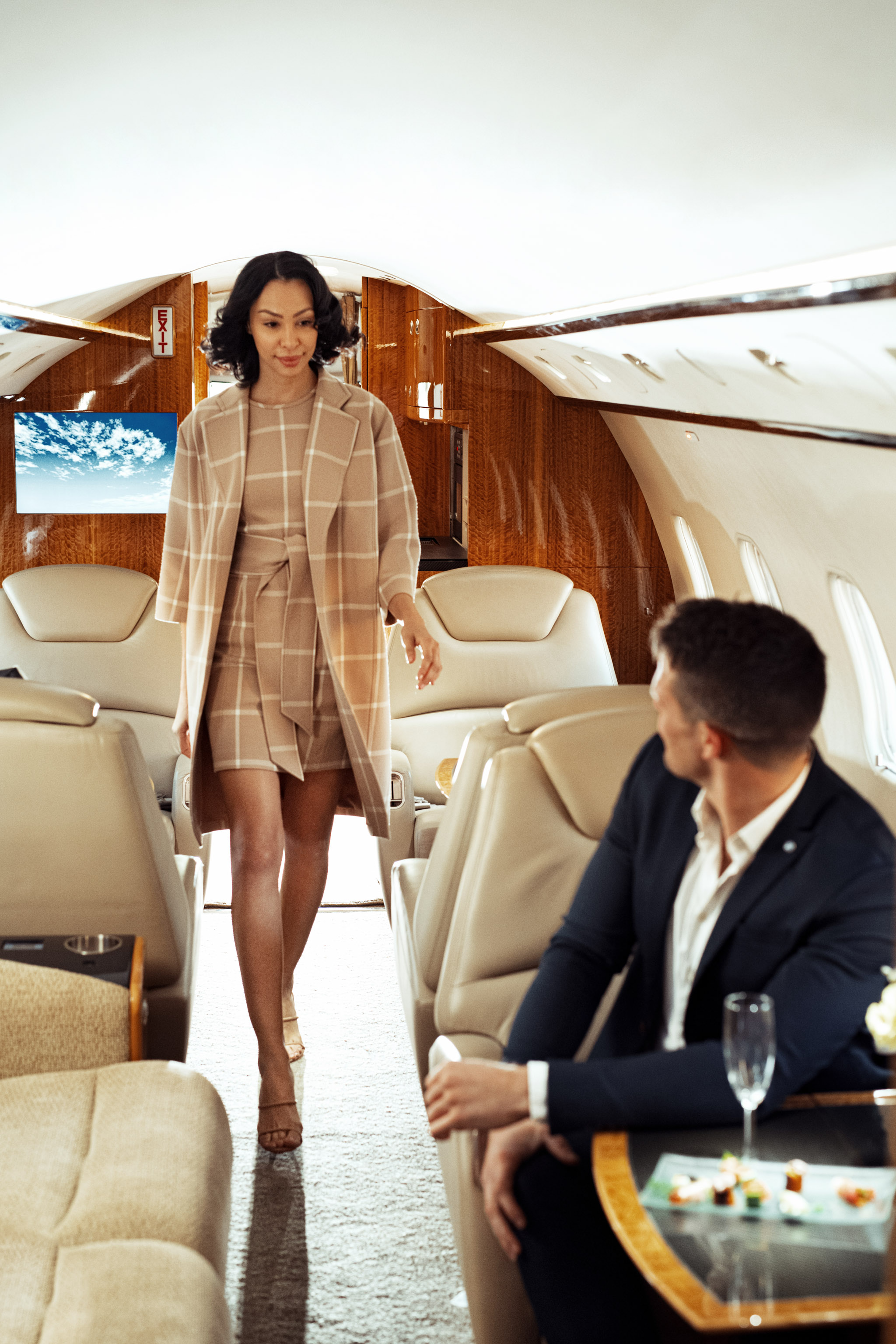 commercial photoshoot of boarding to private jet flight experience