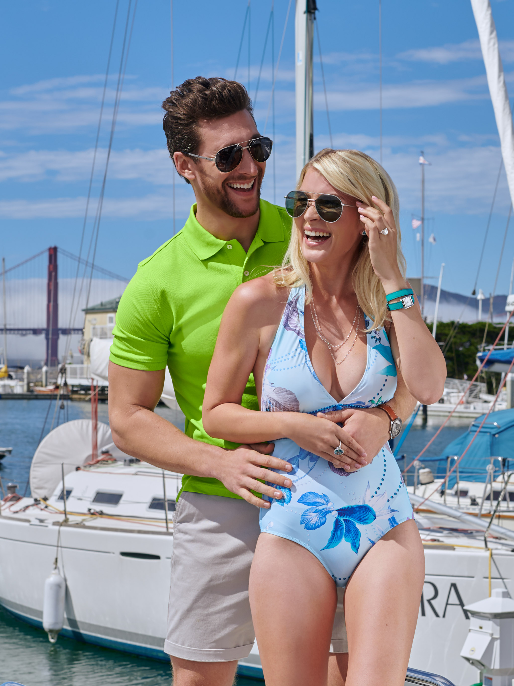Commercial photoshoot on the boat with male and female model