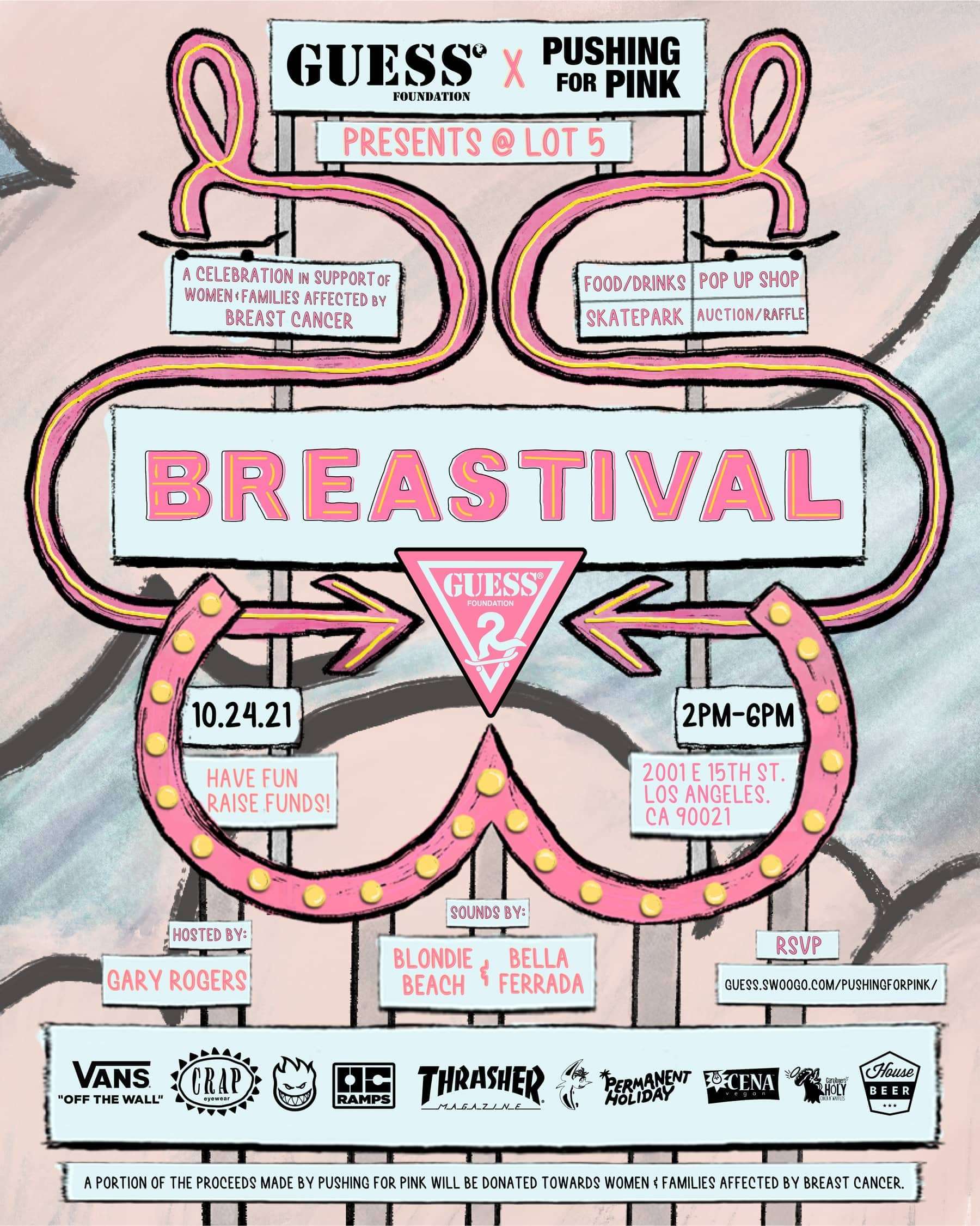 2021 flyer for Pushing For Pink's Breastival event.