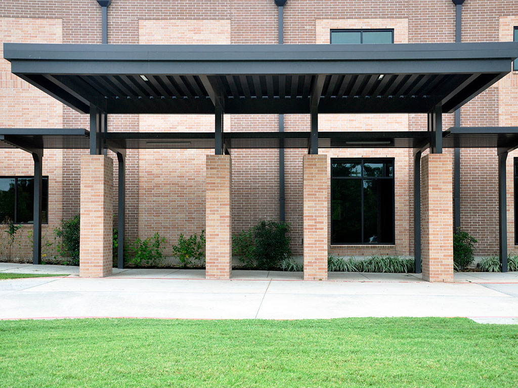 aluminum canopy designed for a drop-off location