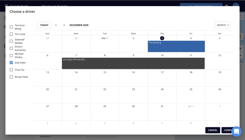 FreightPath Web App Calendar Window