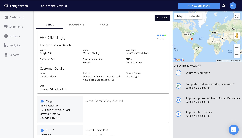 FreightPath Web Portal Shipment Details Page