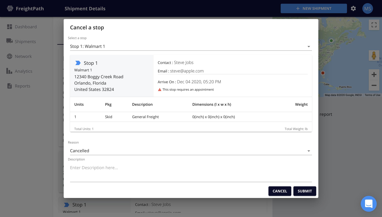 FreightPath Web Portal Cancel a Stop Window