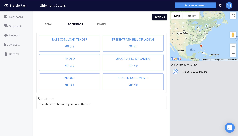 FreightPath Web Portal Shipment Details Page- Documents Tab