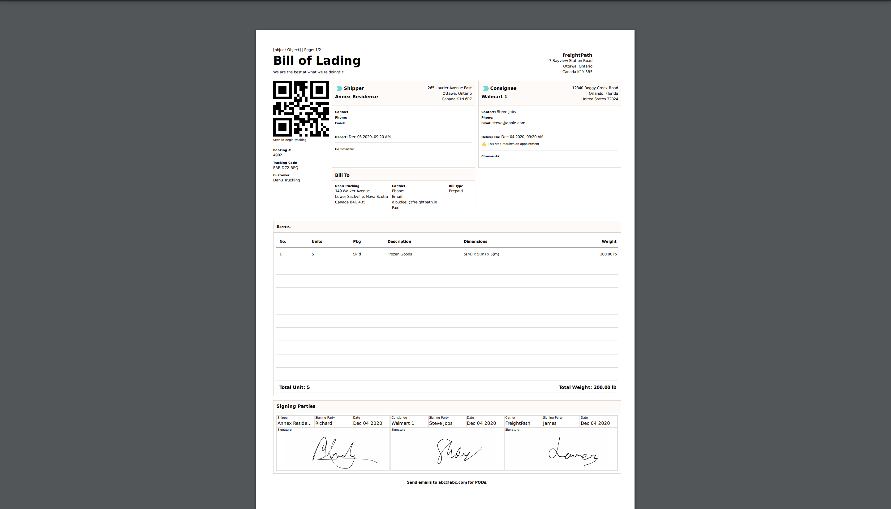 Understanding the Bill of Lading/Proof of Delivery