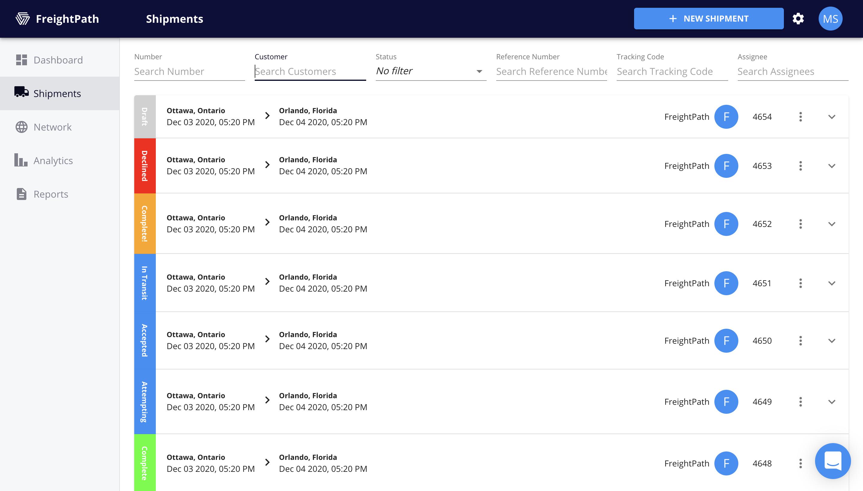 FreightPath Web Portal Shipments Page