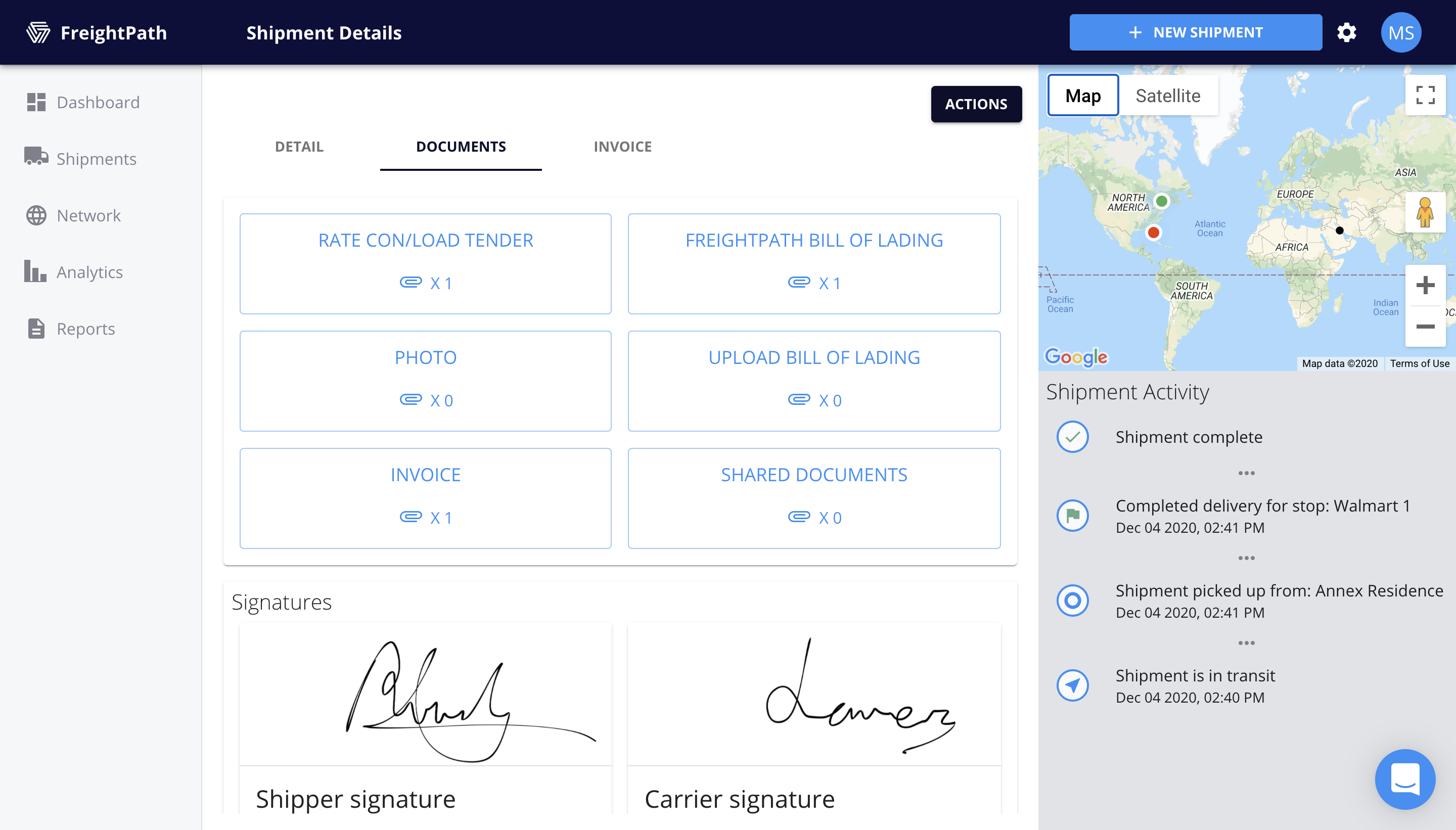 FreightPath Web Portal Shipping Details Page