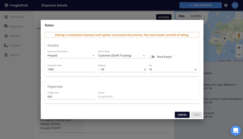 FreightPath Web Portal-Edit Rates