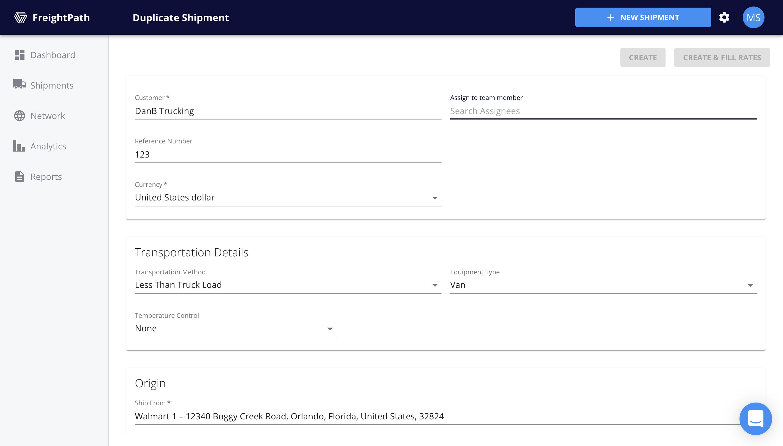 FreightPath Web Portal-Duplicate Shipment