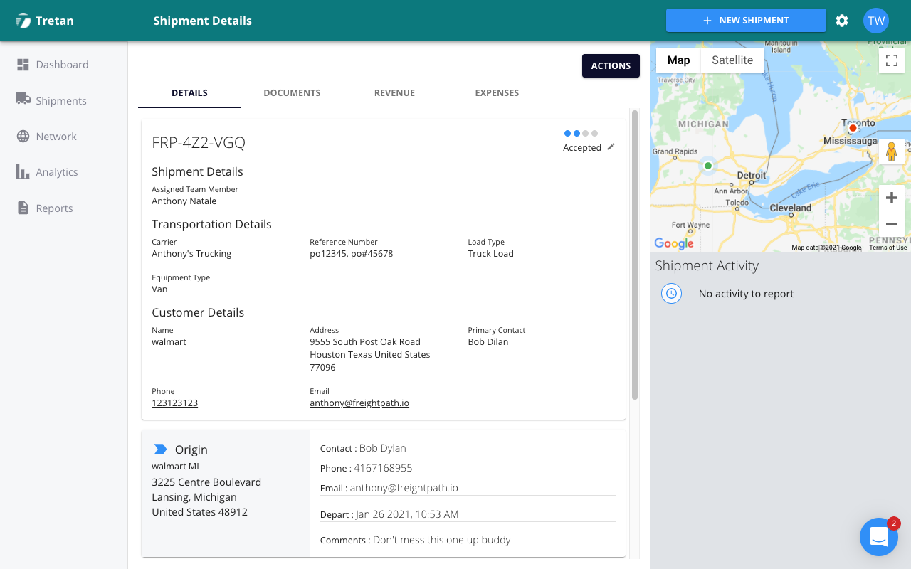 Easy Load Booking And Dispatching In Tretan Inc's FreightPath TMS