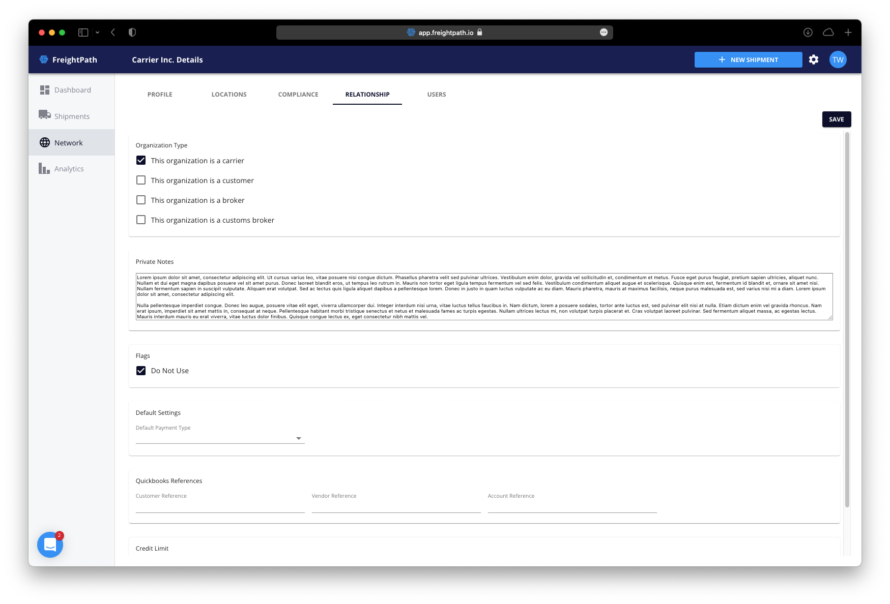 freightpath tms carrier compliance screenshot