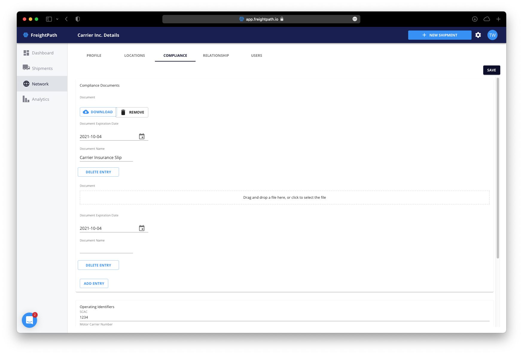 freightpath tms carrier compliance documents screenshot