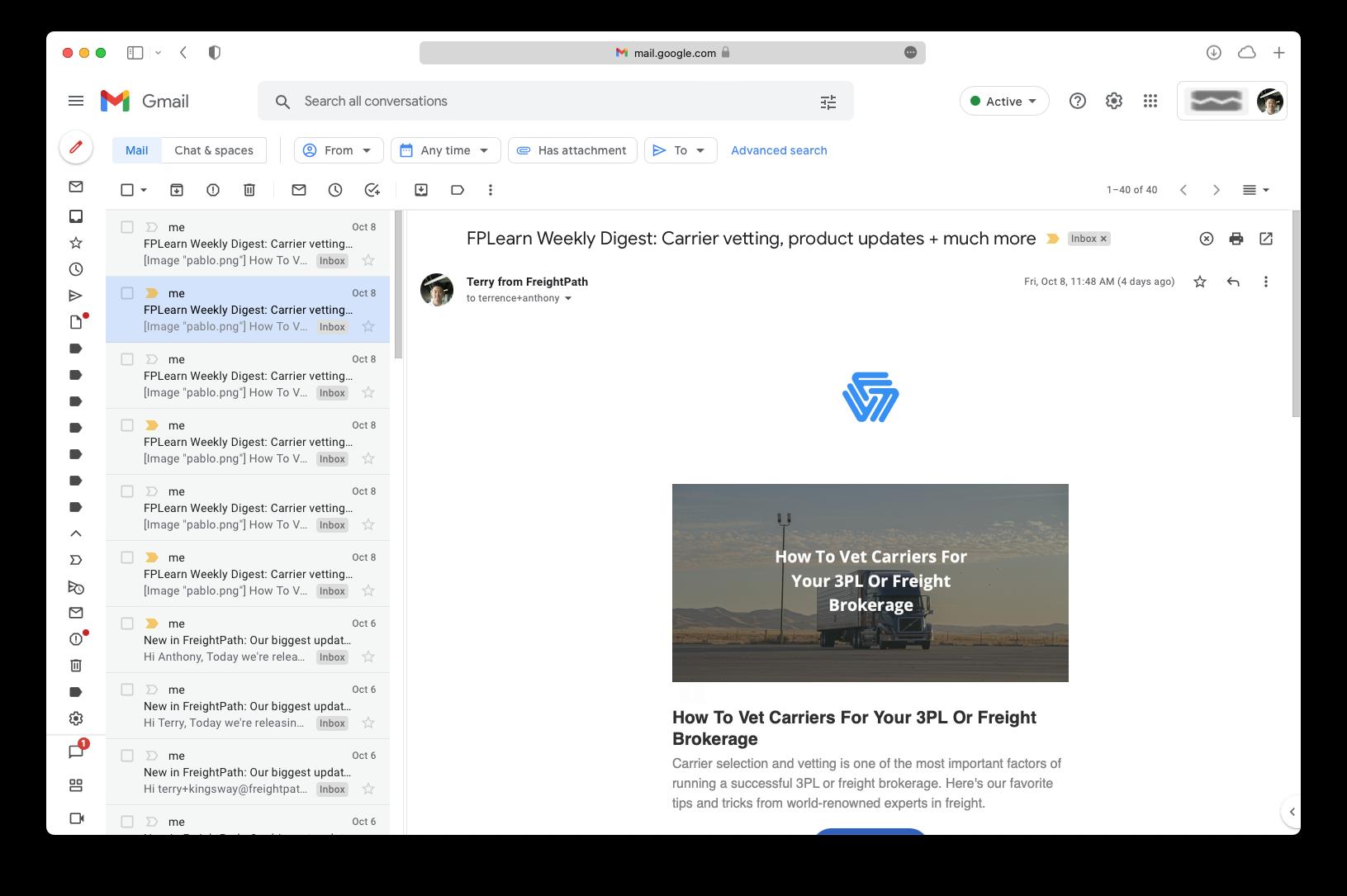 gmail email printing screenshot