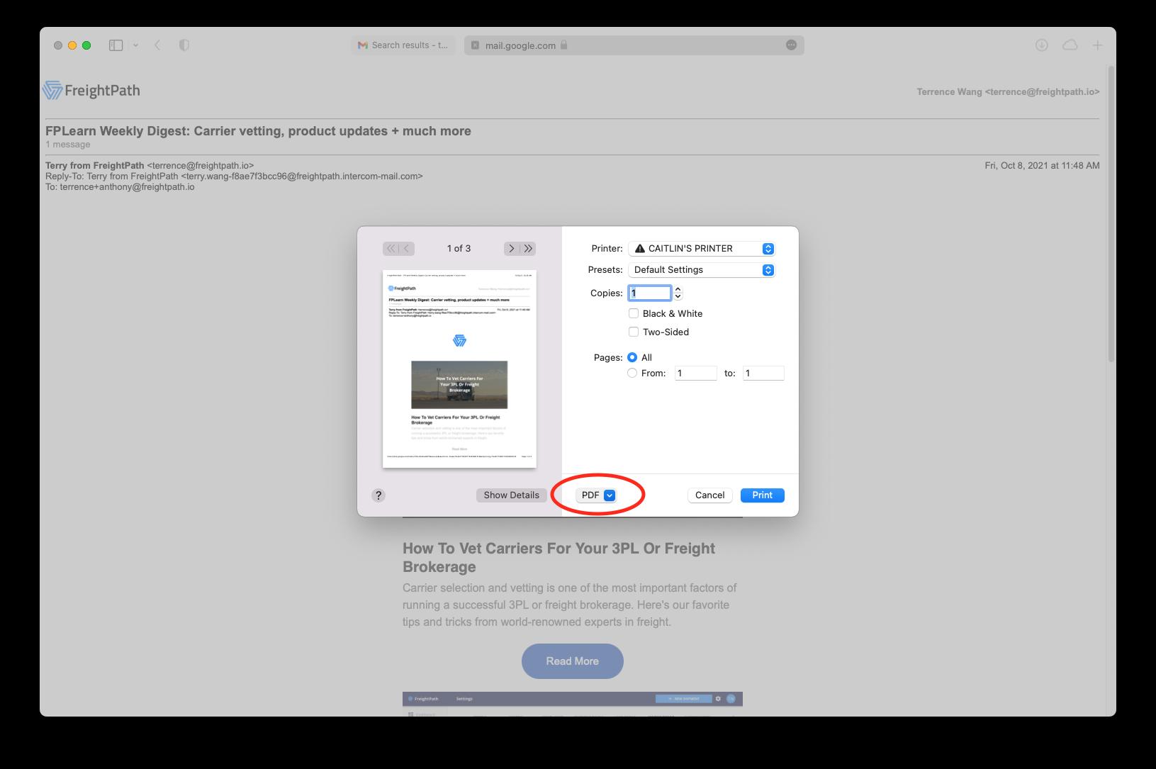 gmail email screenshot printing