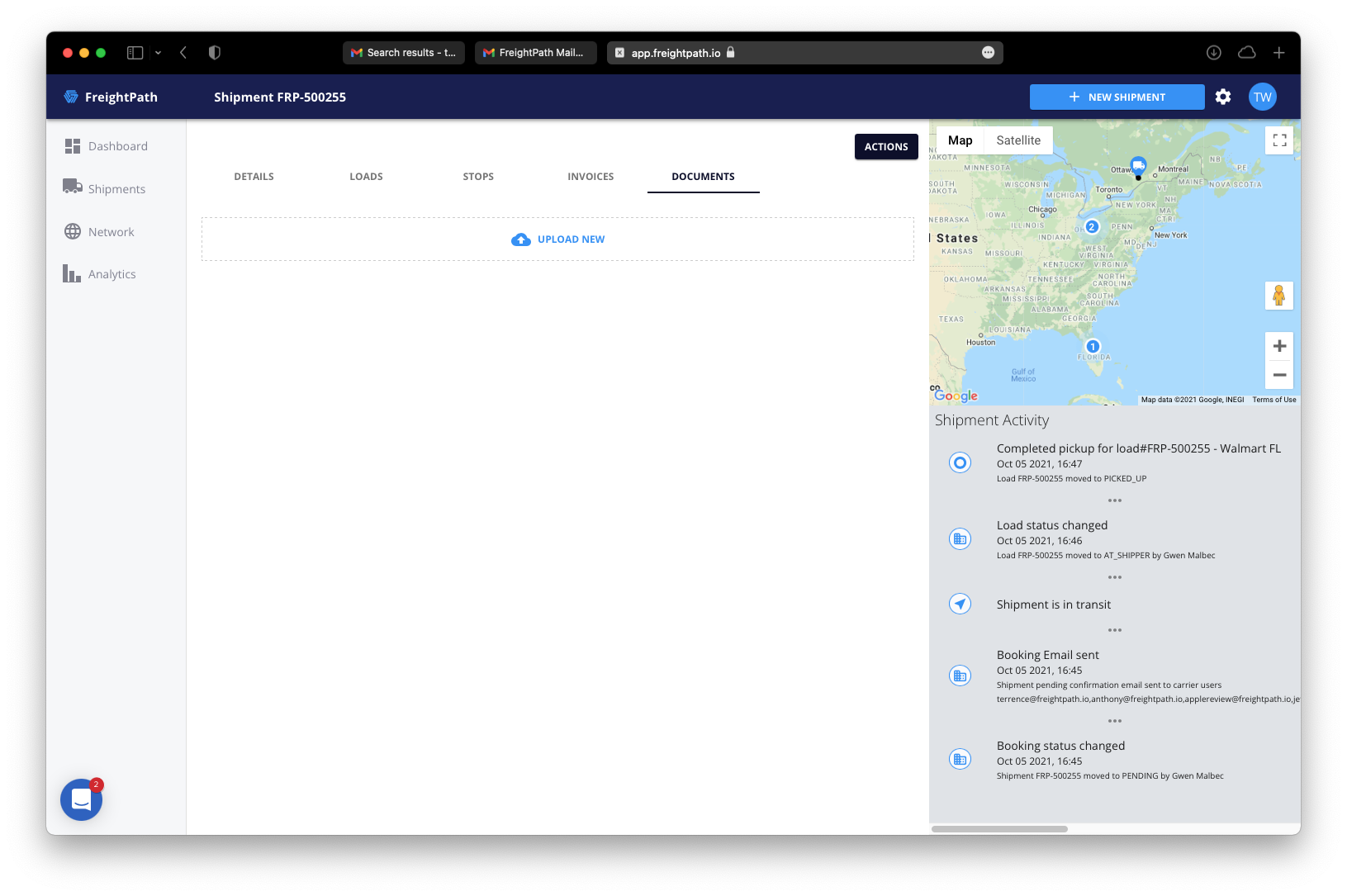 freightpath email upload shared documents screenshot