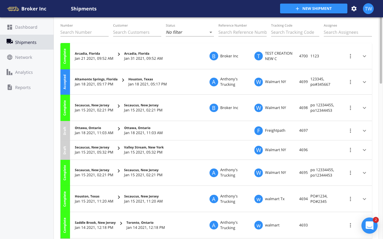 FreightPath TMS - shipment index board