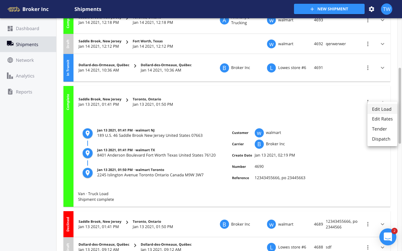 FreightPath TMS - load status dashboard