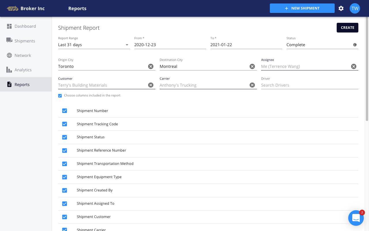 FreightPath TMS - shipment reports