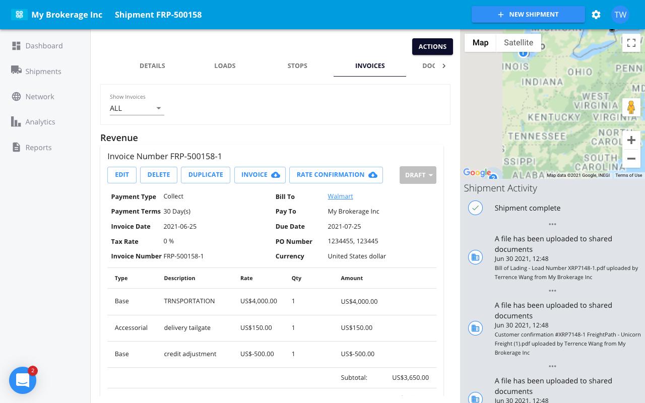 freightpath tms software screenshot map view activity log shipment activity status update status update feed 3pl freight broker