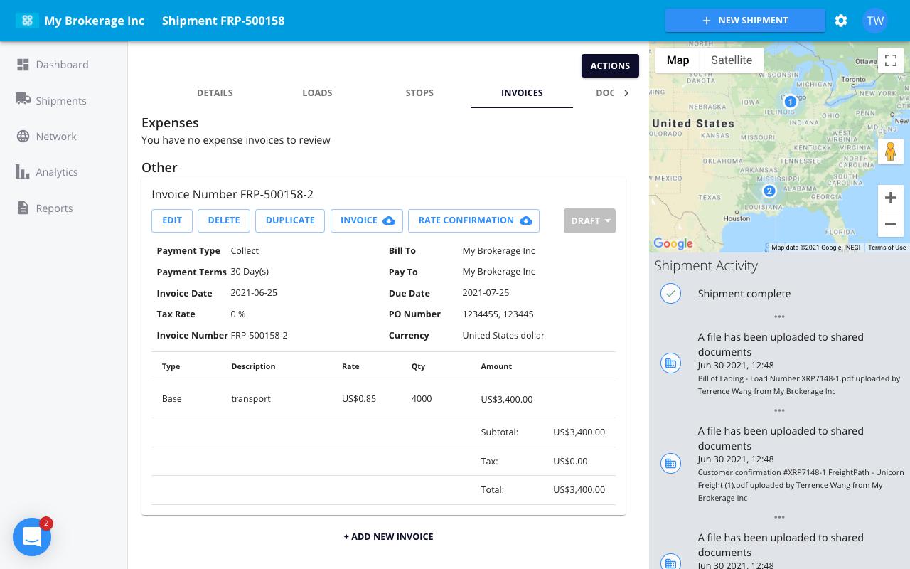freightpath freight broker 3pl tms software expense tracking factoring integration quickbooks sage screenshot