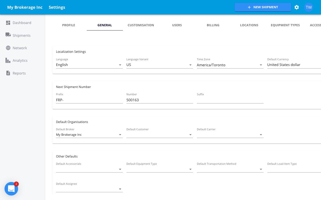 freightpath tms software screenshot settings customization flexible tms software freight broker software 3pl software
